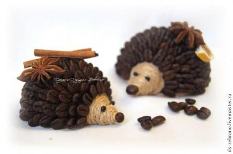 Ароматные ежики из кофейных зерен. Мастер-класс