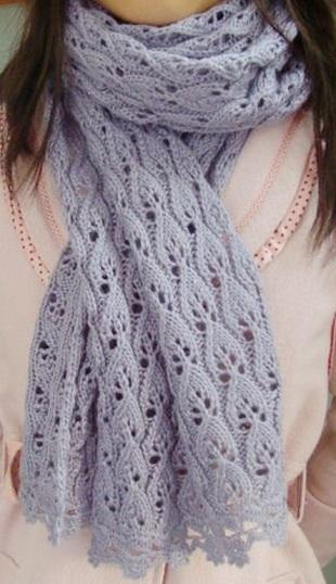 Вяжем ажурный шарфик спицами