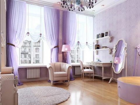 Лиловый цвет для оформления комнат