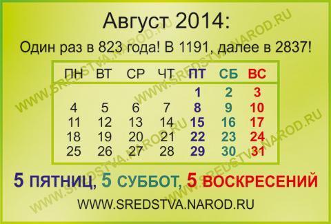 блог, 5 пятниц, sredstva, август 2014, выдающиеся месяцы, интересные даты, номерология, по феншую, пять воскресений, пять суббот, семь пятниц на неделе, сколько дней в году, 5 суббот, 5 воскресений