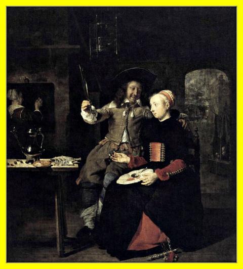 Автопортрет художника с женой Изабеллой де Вольф в трактире.1661г.