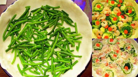 Пирог с овощами и креветками .Фото-Рецепт.Olga Dell