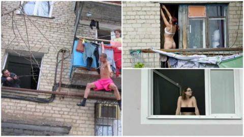 А из нашего окна тётя голая …