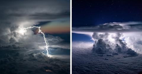 Захватывающие дух фотографии штормов из кабины пилота (24 фото)