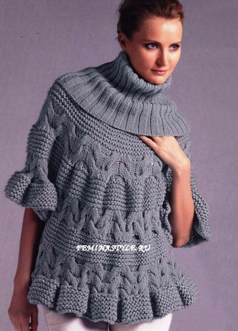 Пуловер-пончо. Вязание спицами