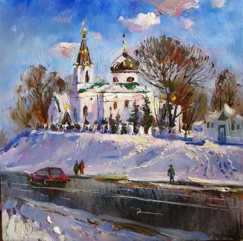 Художник Василий Пешкун. Снежно-деревенское
