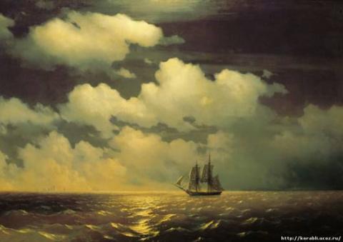 картина Айвазовского «Бриг «Меркурий» в дозоре»