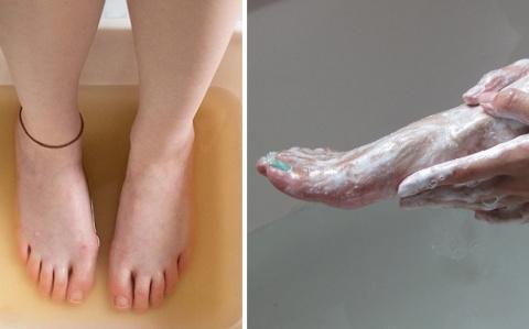 Она втирала соду в ноги каждый день на протяжении двух недель...