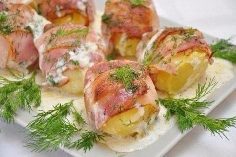 Картофель в беконе со сметан…