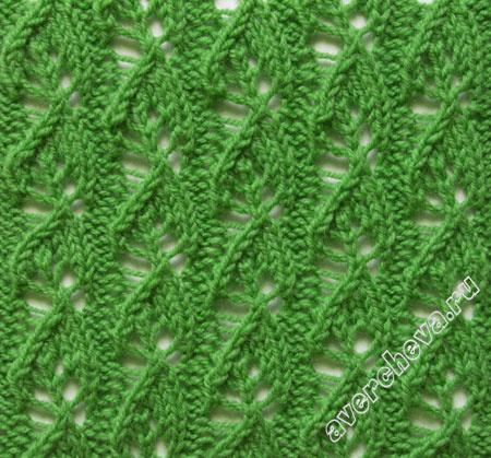 Ажурный узор спицами Маленькие листочки