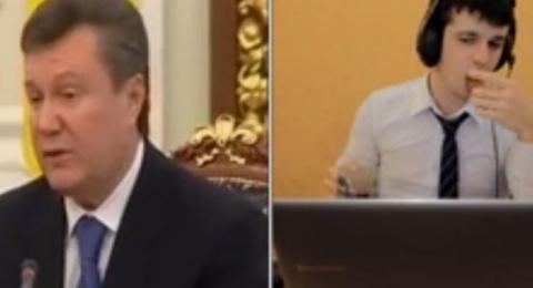 Янукович рекламирует микронаушники