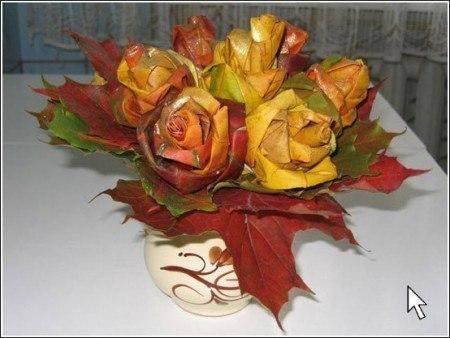 МАСТЕРИЛКА. Розы из кленовых листьев