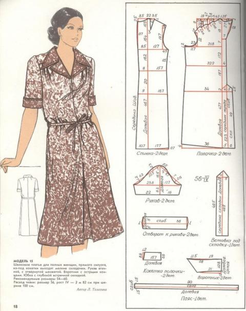 Платье прямого силуэта для полных женщин. Выкройка на 56-й размер