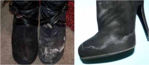 Как вывести пятна соли c обуви