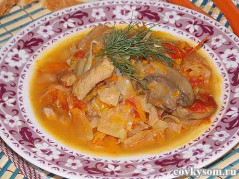 Рагу из овощей с грибами и мясом