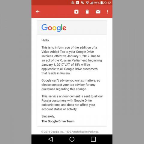 Google сообщила россиянам о …