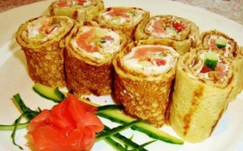 Блины-суши. Очень даже вкусно и так по-русски!