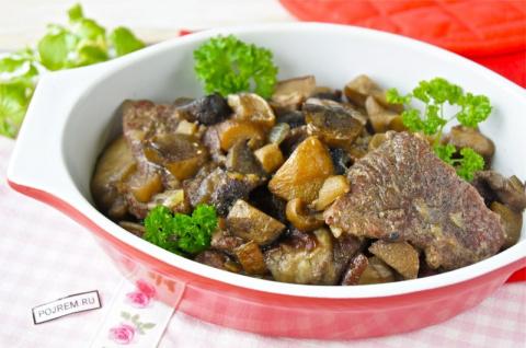 Рецепт: говядина, тушеная с грибами