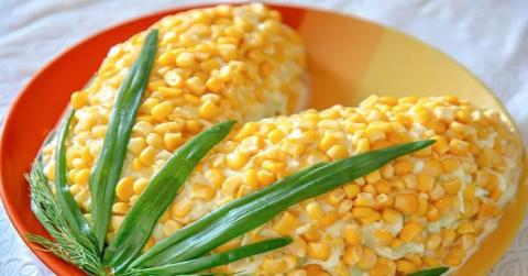 Очень эффектный салат «Кукурузка» без майонеза. Красиво и вкусно!