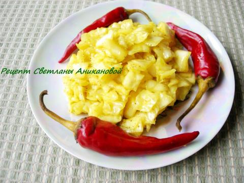 Маринованная капуста с карри. Постное блюдо