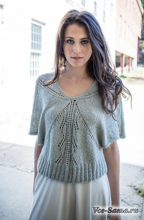 ПЕТЕЛЬКА К ПЕТЕЛЬКЕ. Легкий пуловер спицами из ажурных треугольников