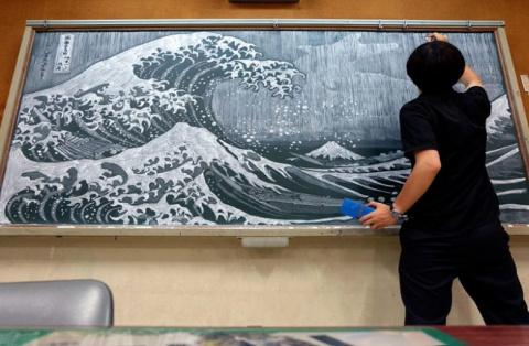 Потрясающие картины на школьной доске