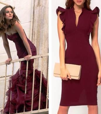 Отличный выбор для вечернего выхода — платья цвета марсала