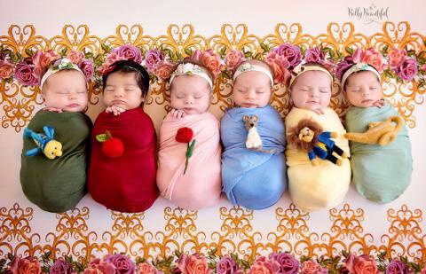 Трогательная фотосессия: новорожденные в образе диснеевских принцесс