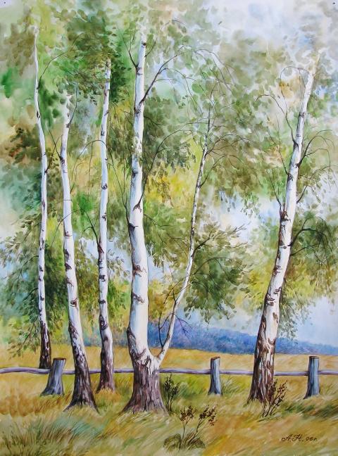 Русские пейзажи в акварелях Натальи Алексеевой