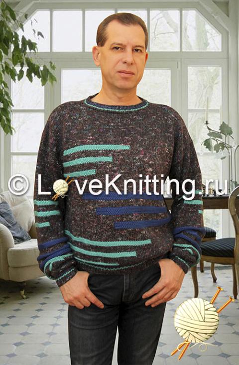 Пуловер с полосами