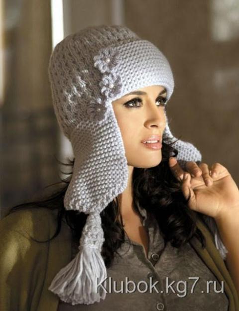 Женская шапочка ушанка. Шапо…