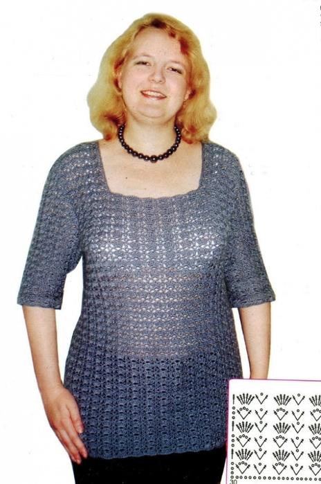 Ажурный серый пуловер большого размера
