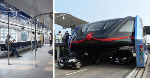 АВТОМАШ. В Китае прошел испытания невероятный наддорожный автобус