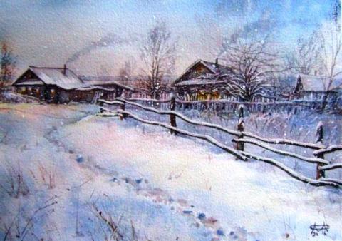 Позаметало стежки-дорожки...Акварельные пейзажи Сергея Морозова