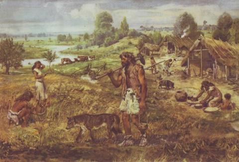 Иллюстрация технологий расщепления в каменном веке