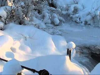 Самодельная ГЭС зимой в мороз -35