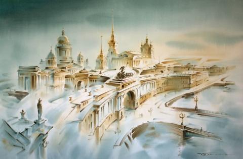 Акварельный Петербург Константина Куземы