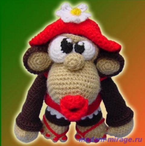 Вязаная игрушка - обезьянка Monkey