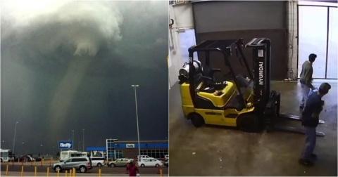 Беги или умри! Торнадо за несколько секунд разрушает предприятие в США