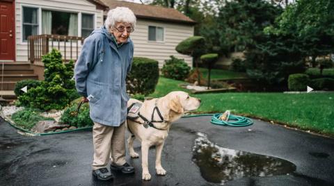 После знакомства с псом она …