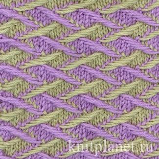 Оригинальный двухцветный узор спицами