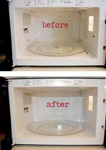 2 столовых ложки уксуса + 1 стакан горячей водой + 10 мин в микроволновой печи = чистота!