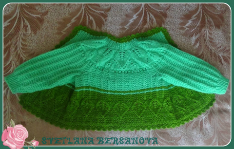 Детский жакет с листиками (спицы)  - knitting children's jacket