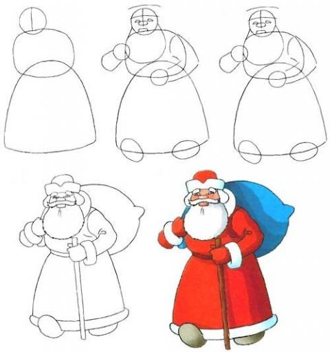 Учися рисовать Деда Мороза