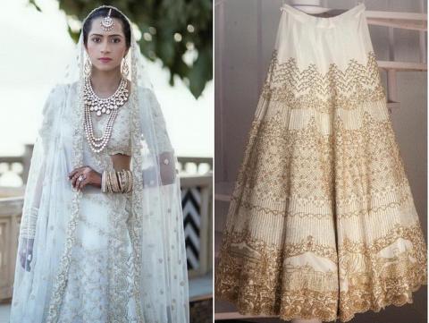 Традиционное индийское свадебное платье: тончайшая вышивка золотом