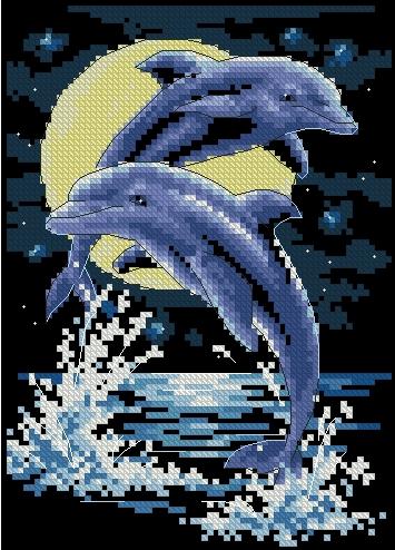 дельфина при луне