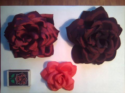 Мои розочки Black magic и Софи Лорен из ткани (мастер класс)