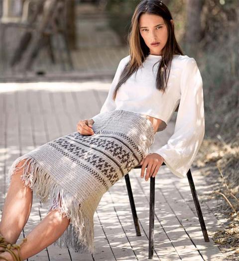 Жаккардовая юбка с бахромой