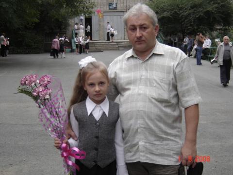 Юрий Г. с дочуркой Нинулькой - 01.09.2008 г.