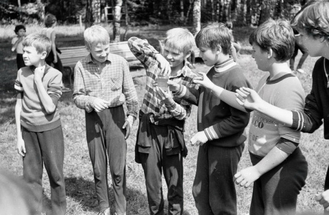 1985 июль. Веселые старты. Стаканчик.